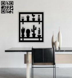 Cactus wall decor E0014325 file cdr and dxf free vector download for laser cut plasma