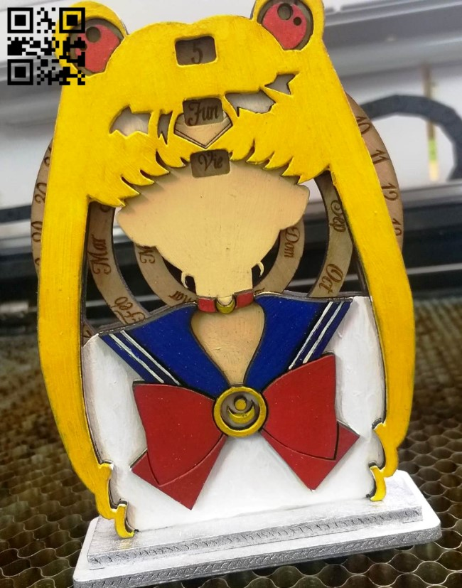 Calendar sailor moon E0014175 file cdr and dxf free vector download for laser cut