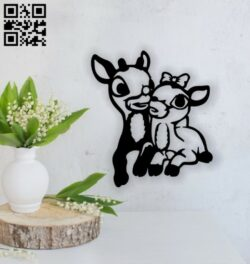 Couple deer E0014244 file cdr and dxf free vector download for laser cut plasma