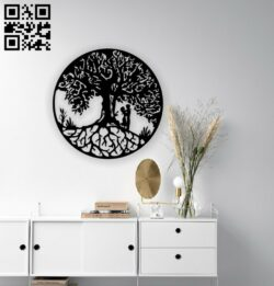 Couple under tree wall decor E0014404 file cdr and dxf free vector download for laser cut plasma