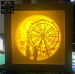 Couple with ferris light box E0014088 file cdr and dxf free vector download for laser cut
