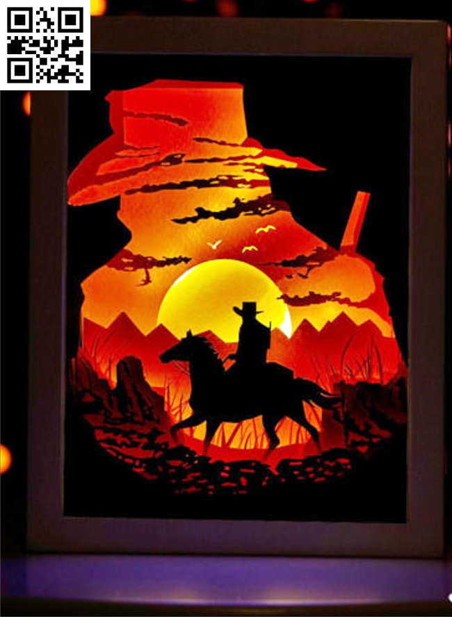 Cowboy light box E0014208 file cdr and dxf free vector download for laser cut