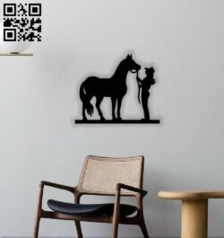 Cowgirl and horse E0014436 file cdr and dxf free vector download for laser cut plasma