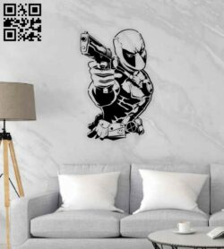 Deadpool wall decor E0014381 file cdr and dxf free vector download for laser cut plasma