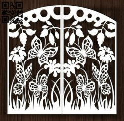 Design pattern door E0014218 file cdr and dxf free vector download for laser cut cnc
