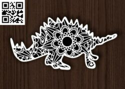 Dinosaur mandala E0014226 file cdr and dxf free vector download for laser cut