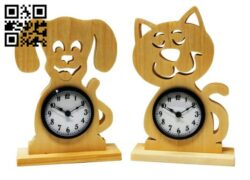 Dog cat clock E0014273 file cdr and dxf free vector download for laser cut