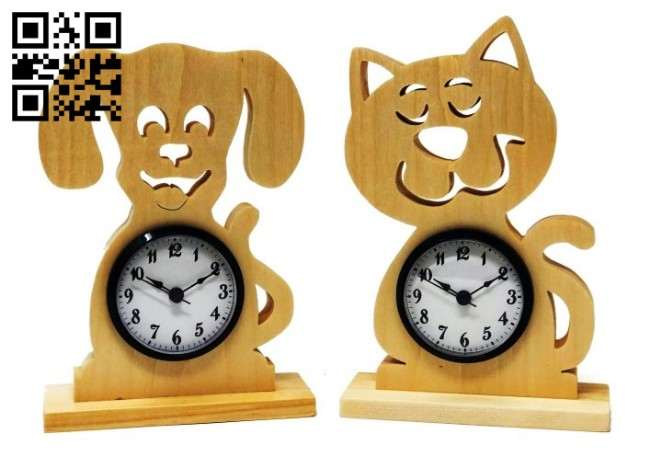 Dog cat clock E00142713 file cdr and dxf free vector download for laser cut