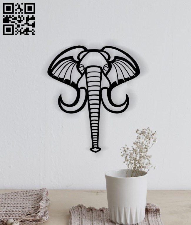 Elephant head E0014137 file cdr and dxf free vector download for laser cut plasma