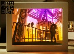 End of day train light box E0014087 file cdr and dxf free vector download for laser cut