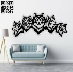 Five wolves E0014139 file cdr and dxf free vector download for laser cut plasma