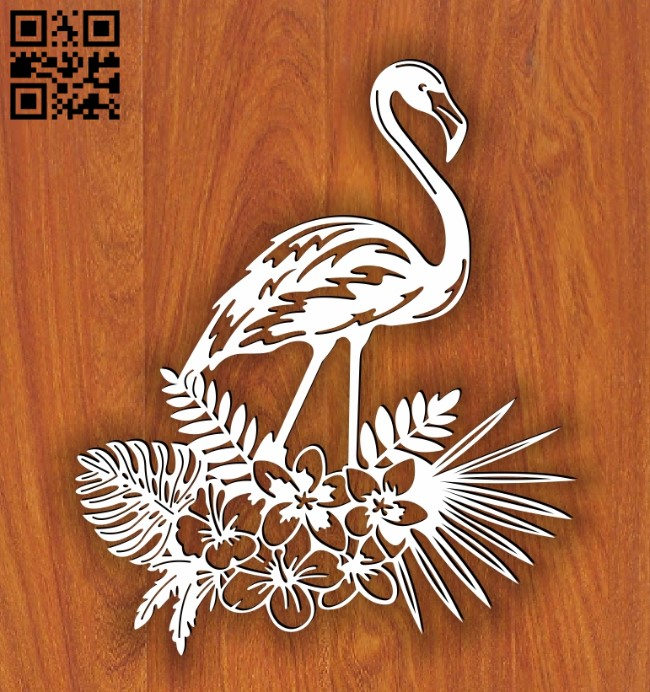 Floral flamingo E0014097 file cdr and dxf free vector download for laser cut plasma