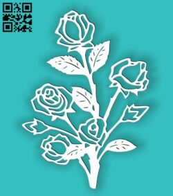 Floral roses E0014446 file cdr and dxf free vector download for laser cut plasma