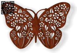 Flower butterfly E0014189 file cdr and dxf free vector download for laser cut