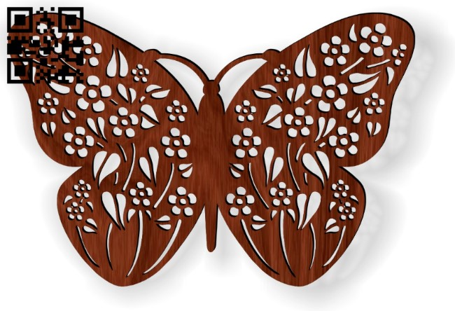 Flower butterfly E0014189 file cdr and dxf freplasma