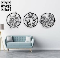 Flowers wall decor E0014192 file cdr and dxf free vector download for laser cut plasma