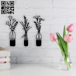 Flowers wall decor E0014321 file cdr and dxf free vector download for laser cut plasma