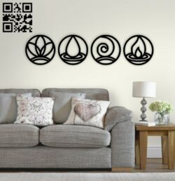 Four elements wall decor E0014449 file cdr and dxf free vector download for laser cut plasma