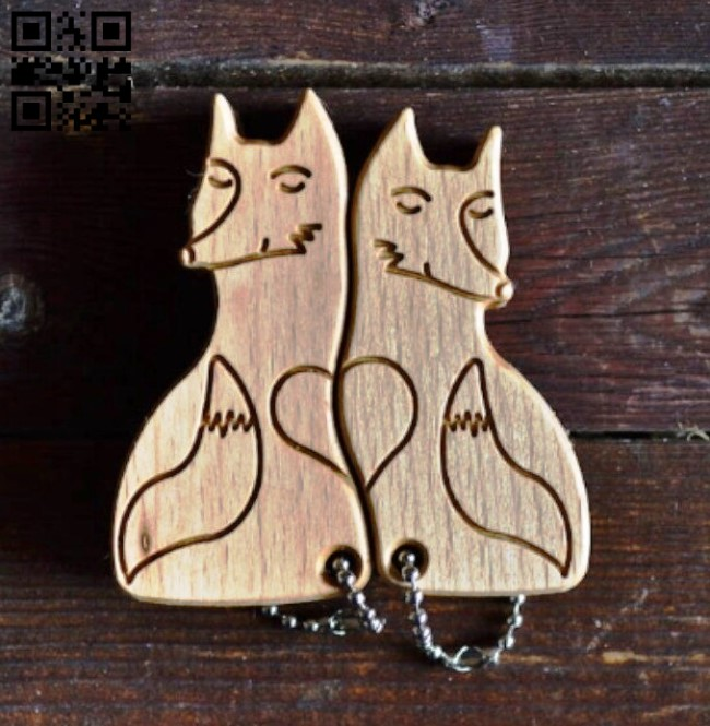 Foxes keychain E0014147 file cdr and dxf free vector download for laser cut