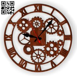 Gear clock E0014076 file cdr and dxf free vector download for laser cut