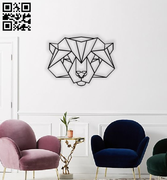Geometric Wolf E0014125 file cdr and dxf free vector download for laser cut plasma