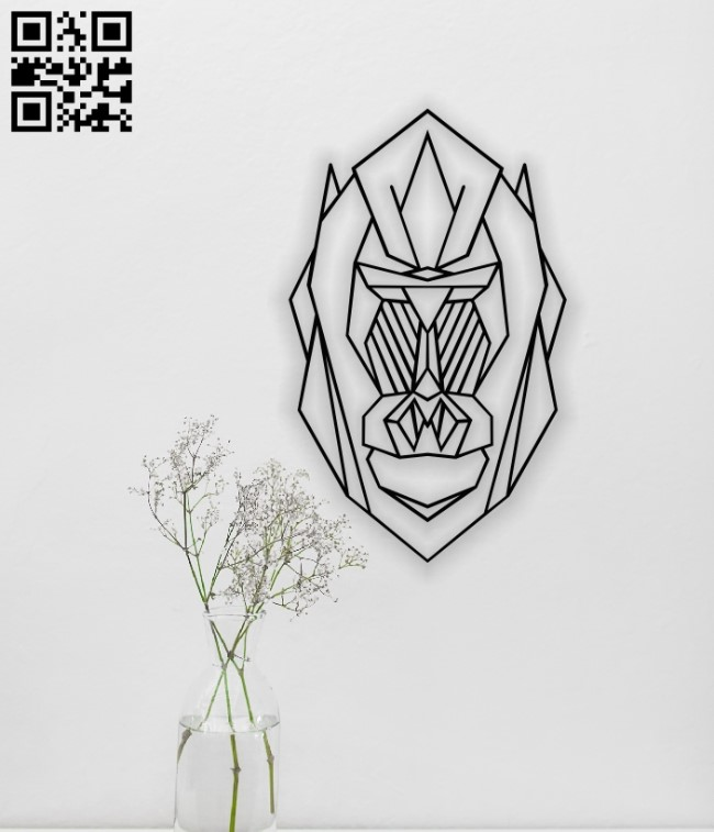 Geometric gorilla E0014126 file cdr and dxf free vector download for laser cut plasma