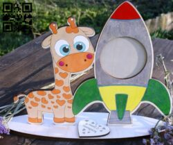 Giraffe photo frame E0014408 file cdr and dxf free vector download for laser cut