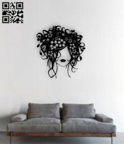 Girl with flowers in hair E0014276 file cdr and dxf free vector download for laser cut plasma