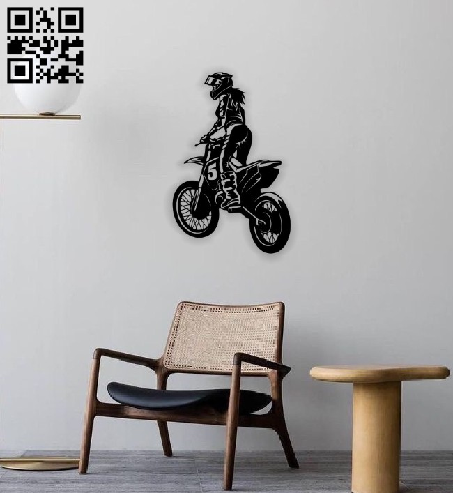 Girl with motorcycle E0014191 file cdr and dxf free vector download for laser cut plasma