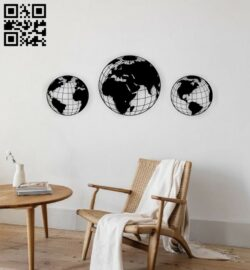 Globe wall decor E0014324 file cdr and dxf free vector download for laser cut plasma