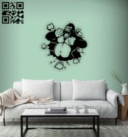 Gorilla wall decor E0014341 file cdr and dxf free vector download for laser cut plasma