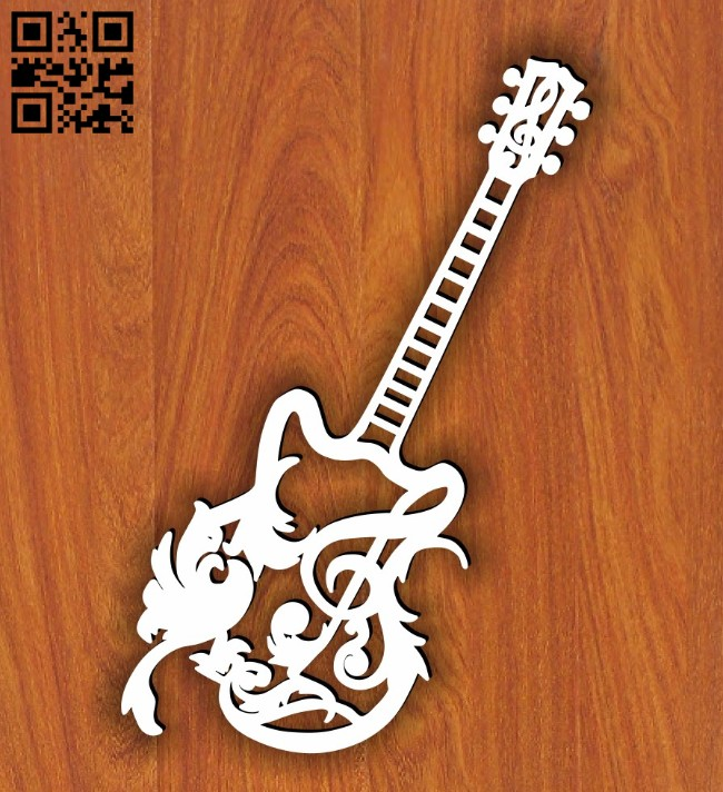Guitar E0014193 file cdr and dxf free vector download for laser cut