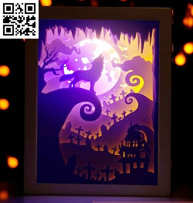 Halloween light box E0014149 file cdr and dxf free vector download for laser cut