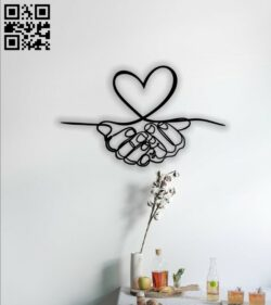 Hands with heart wall decor E0014201 file cdr and dxf free vector download for laser cut plasma