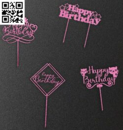 Happy birthday topper E0014359 file cdr and dxf free vector download for laser cut plasma