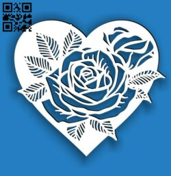 Heart frame with rose E0014424 file cdr and dxf free vector download for laser cut plasma