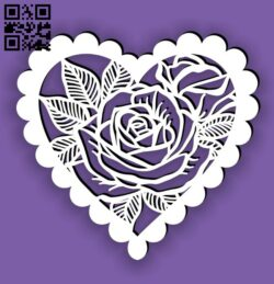 Heart frame with rose E0014425 file cdr and dxf free vector download for laser cut plasma