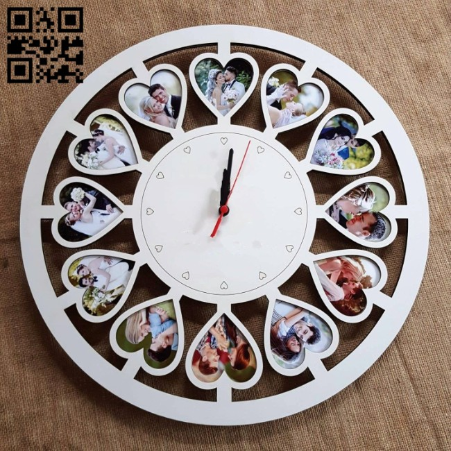 Heart photo frame clock E0014316 file cdr and dxf free vector download for laser cut