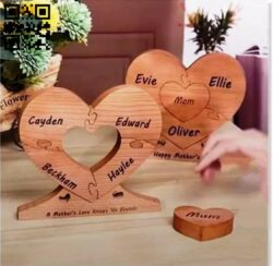 Heart puzzle E0014412 file cdr and dxf free vector download for laser cut