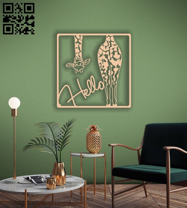 Hello giraffe wall decor E0014197 file cdr and dxf free vector download for laser cut plasma