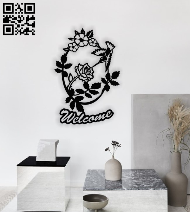 Humming bird welcome E0014154 file cdr and dxf free vector download for laser cut plasma