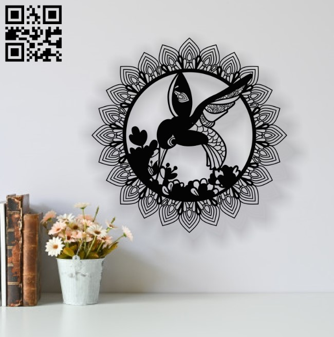 Humming bird with Mandala E0014090 file cdr and dxf free vector download for laser cut plasma