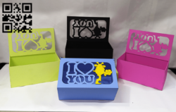 I love you box E0014254 file cdr and dxf free vector download for laser cut