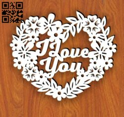I love you heart E0014229 file cdr and dxf free vector download for laser cut