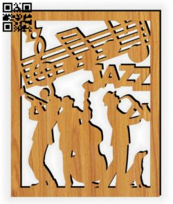 Jazz band E0014134 file cdr and dxf free vector download for laser cut