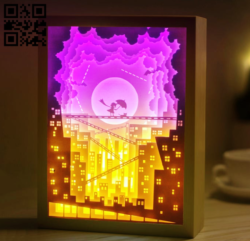 Kid and Cat's dream light box E0014249 file cdr and dxf free vector download for laser cut