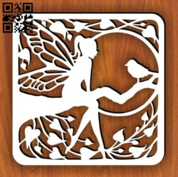 Lady with bird  E0014371 file cdr and dxf free vector download for laser cut plasma