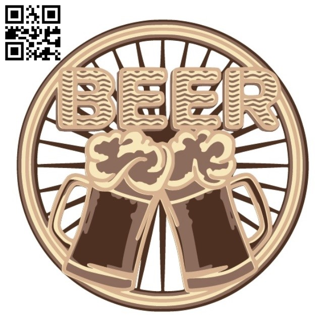 Layered beer E0014080 file cdr and dxf free vector download for laser cut