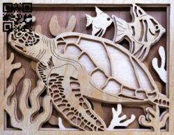 Layered sea turtle E0014079 file cdr and dxf free vector download for laser cut