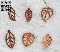Leaf earring E0014423 file cdr and dxf free vector download for laser cut plasma